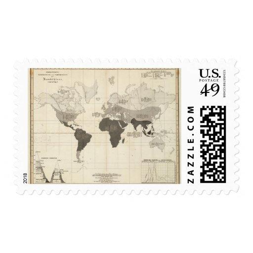 Distribución geográfica de la vegetación timbres postales