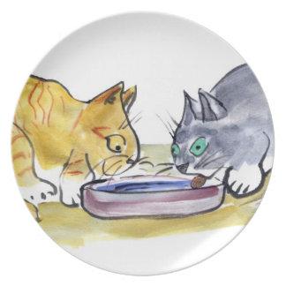Distribución - tigre anaranjado y parte gris de lo plato de cena