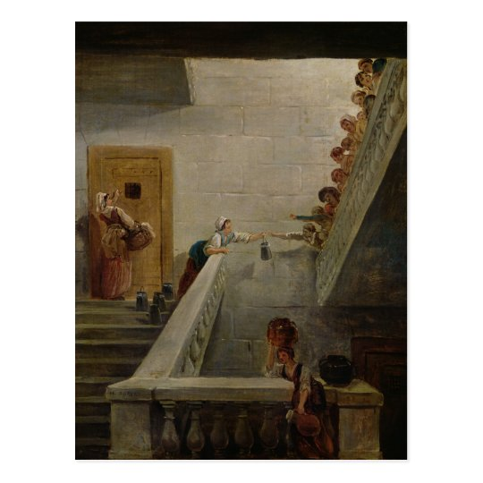 Distributing Milk at St. Lazare Prison, 1794 Postcard