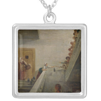Distributing Milk at St. Lazare Prison, 1794 Silver Plated Necklace