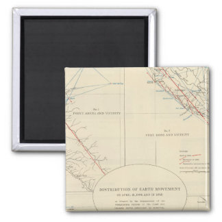 Distribution of earth movement in California 2 Inch Square Magnet