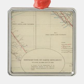 Distribution of earth movement in California Metal Ornament