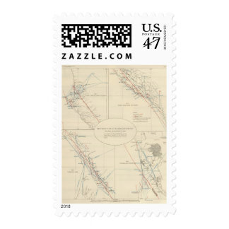 Distribution of earth movement in California Postage