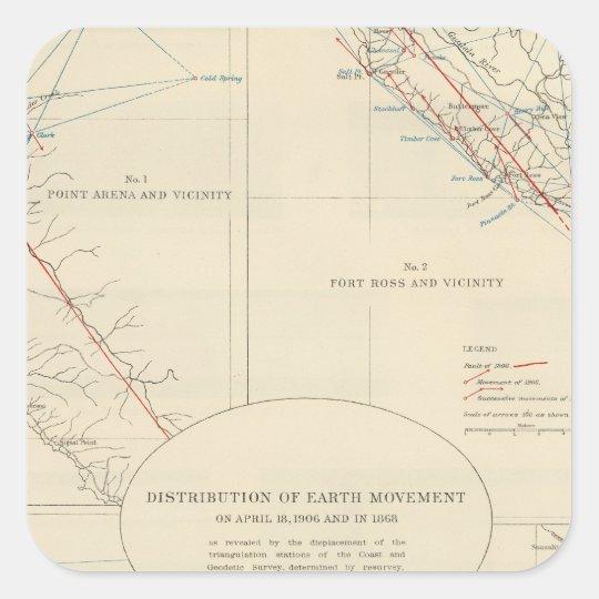 Distribution of earth movement in California Square Sticker