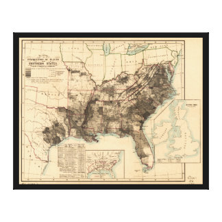 Distribution of Slaves in Southern States Map 1860 Canvas Print