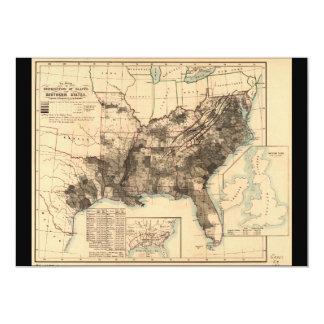 Distribution of Slaves in Southern States Map 1860 5x7 Paper Invitation Card