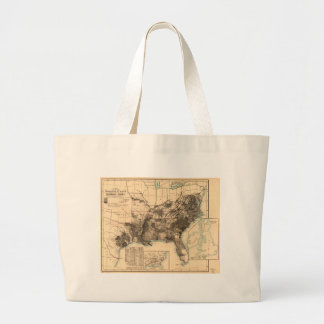 Distribution of Slaves in Southern States Map 1860 Large Tote Bag