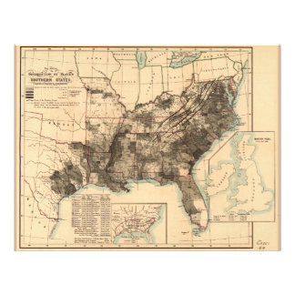 Distribution of Slaves in Southern States Map 1860 Letterhead