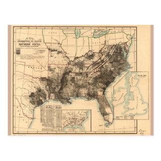 Distribution of Slaves in Southern States Map 1860 Postcard
