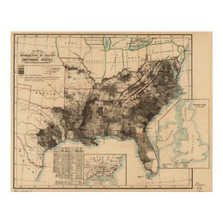 Distribution of Slaves in Southern States Map 1860 Poster