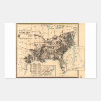 Distribution of Slaves in Southern States Map 1860 Rectangular Sticker