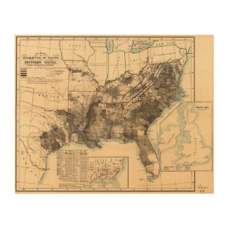 Distribution of Slaves in Southern States Map 1860 Wood Wall Art