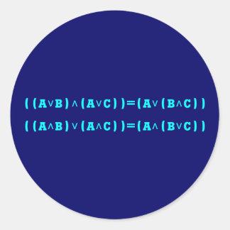 Distributivgesetz lógica distributiva law logic pegatina redonda