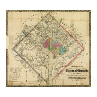 District of Columbia Civil War Era Map Canvas Print