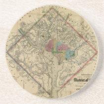 District of Columbia Civil War Era Map Sandstone Coaster