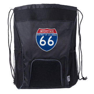 District of Columbia DC I-66 Interstate Shield - Drawstring Backpack