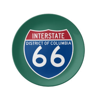 District of Columbia DC I-66 Interstate Shield - Porcelain Plate
