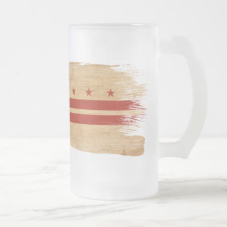 District of Columbia Flag Frosted Glass Beer Mug