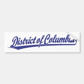 District of Columbia script logo in blue Car Bumper Sticker
