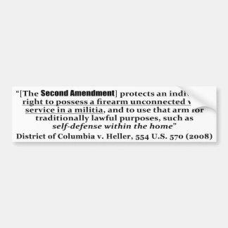 District of Columbia v Heller, 554 U.S. 570 2008 Bumper Sticker
