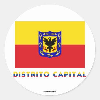 Distrito Capital Flag with Name Round Sticker