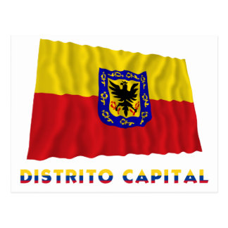 Distrito Capital Waving Flag with Name Postcard