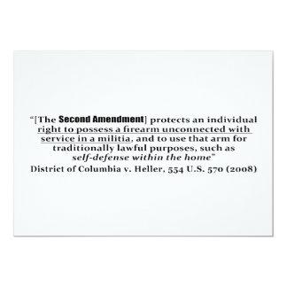 """Distrito de Columbia v Heller, los 554 E.E.U.U. Invitación 5"""" X 7"""""""
