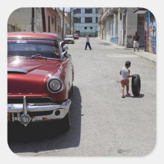 Distrito de Hamel del africano La Habana Cuba l Calcomania Cuadrada Personalizada
