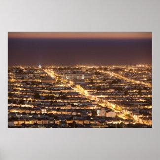 Distrito de la puesta del sol póster