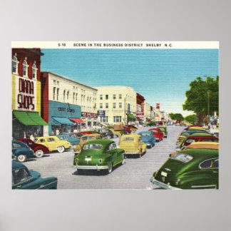 Distrito financiero, Shelby, vintage de Carolina d Posters