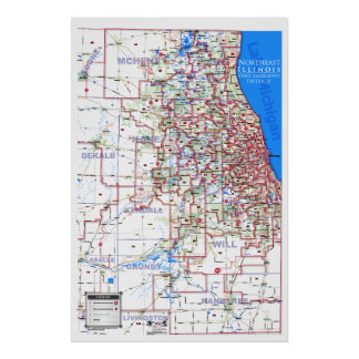 Distritos legislativos del estado - Illinois de no Poster