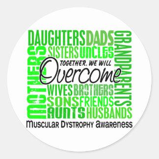 Distrofia muscular cuadrada de la familia etiquetas redondas