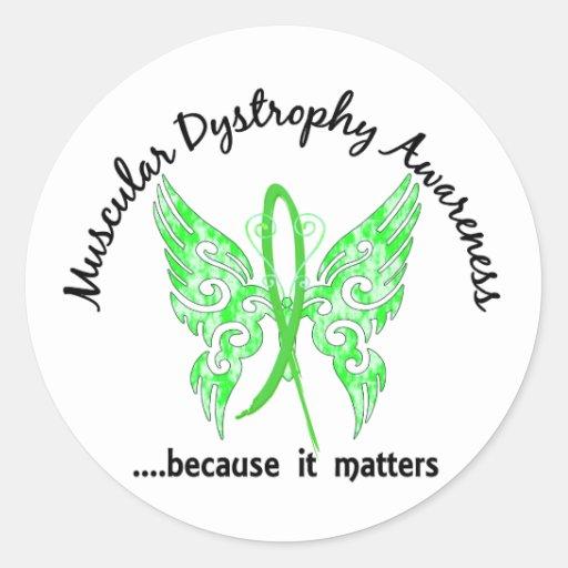 Distrofia muscular de la mariposa 6,1 del tatuaje pegatina redonda
