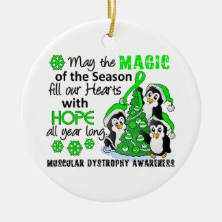 Distrofia muscular de los pingüinos del navidad adorno navideño redondo de cerámica