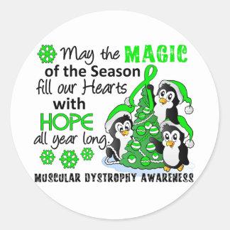 Distrofia muscular de los pingüinos del navidad pegatina redonda