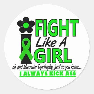 Distrofia muscular que lucho como un chica 1,2 etiqueta redonda