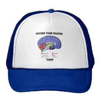 Disturb Your Routine Think (Brain Anatomy) Hats