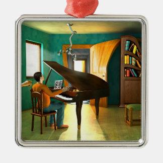 Disturbing the pianist metal ornament