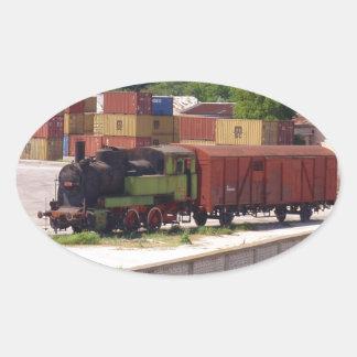 Disused Steam Train Oval Sticker