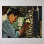 Disyuntores de examen del electricista del vintage poster