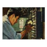 Disyuntores de examen del electricista del vintage tarjetas postales