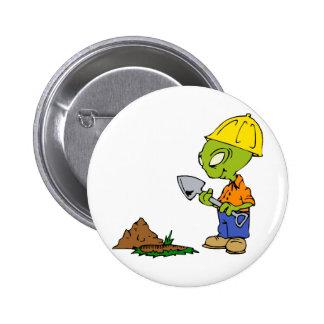 Ditch Digger Alien Pinback Button
