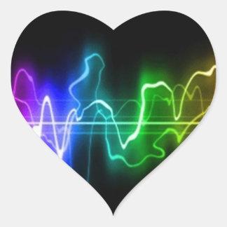 DITGITAL COLORS MUSIC HEARTBEATS ABSTRACT BACKGROU HEART STICKER