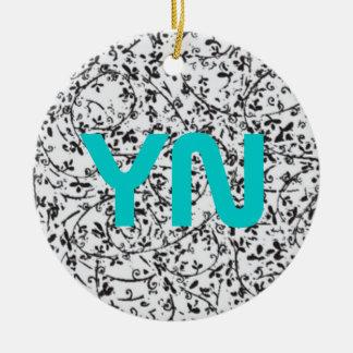 Ditsy2 monogram ceramic ornament
