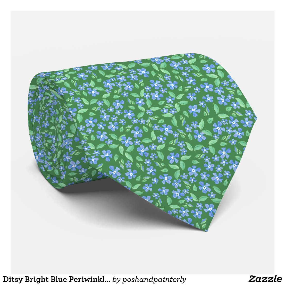 Ditsy Bright Blue Periwinkles on Green Floral Neck Tie