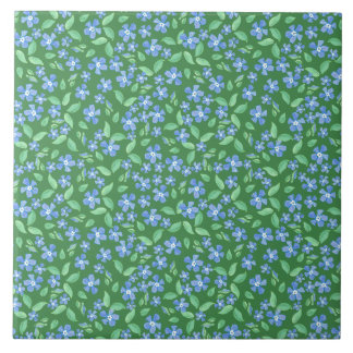 Ditsy Bright Blue Periwinkles on Green Floral Tile