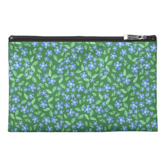 Ditsy Bright Blue Periwinkles on Green Floral Travel Accessory Bags
