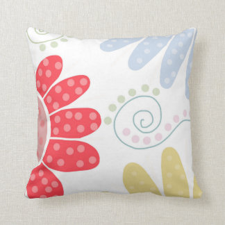 Ditsy Daisies. Bright and colourful flower print. Throw Pillow