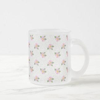 Ditsy Dog Rose Polka Style Frosted Glass Mug