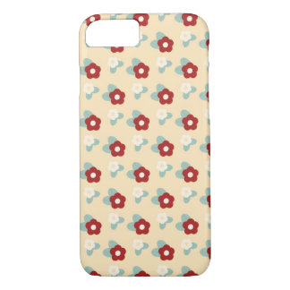Ditsy Floral Pattern Maroon Teal and Buff iPhone 8/7 Case